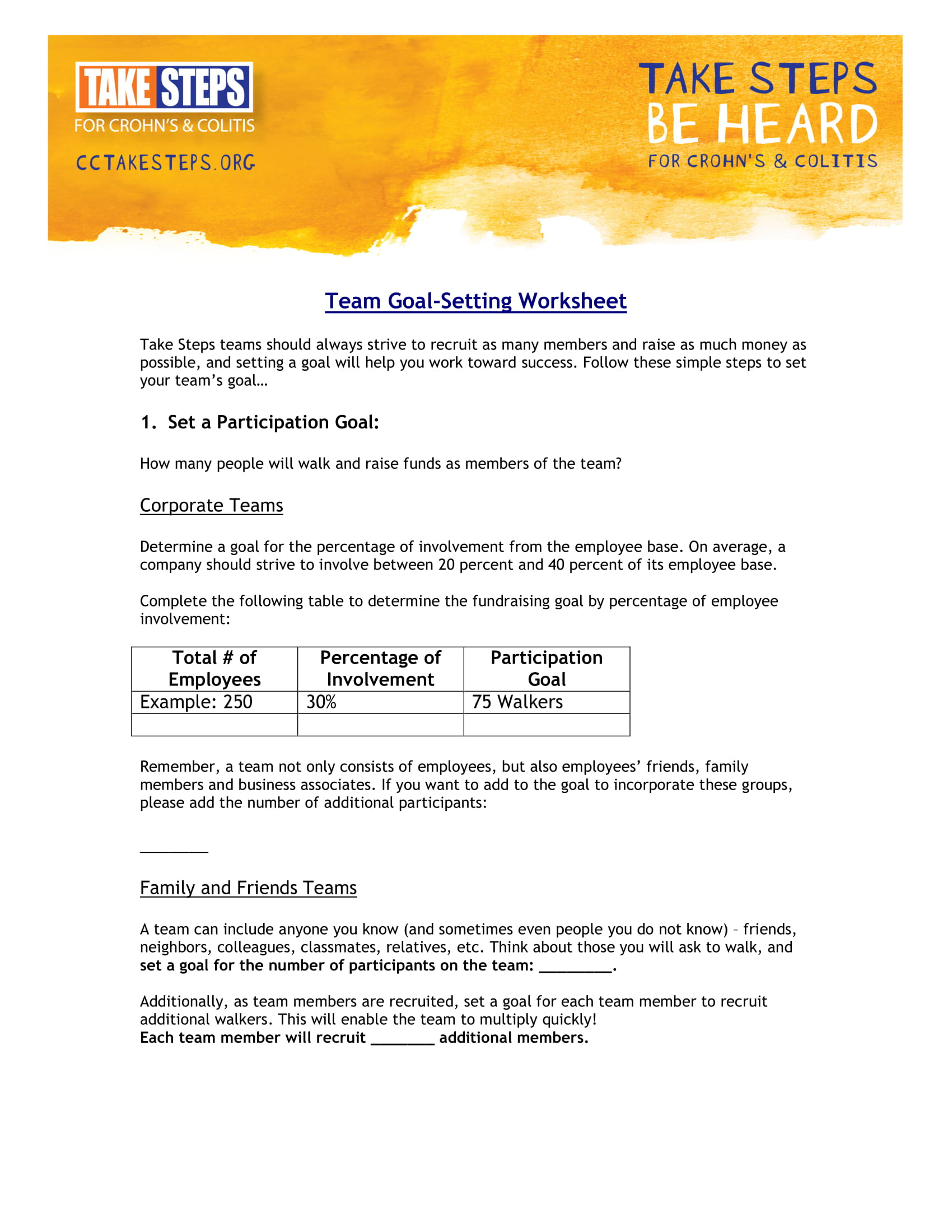 team goal setting worksheet example