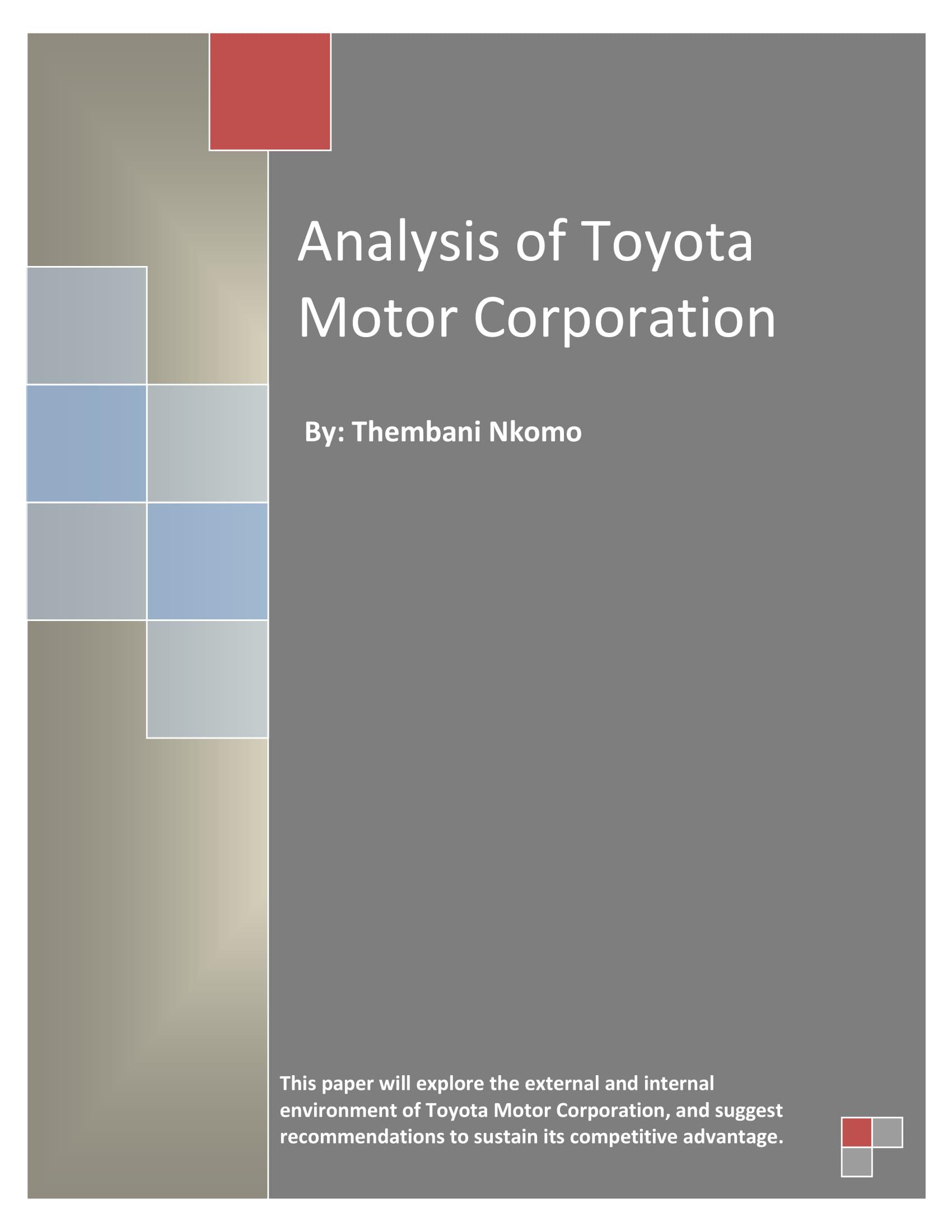 toyota motor corporation company analysis example
