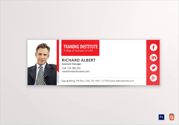 training email signature design example
