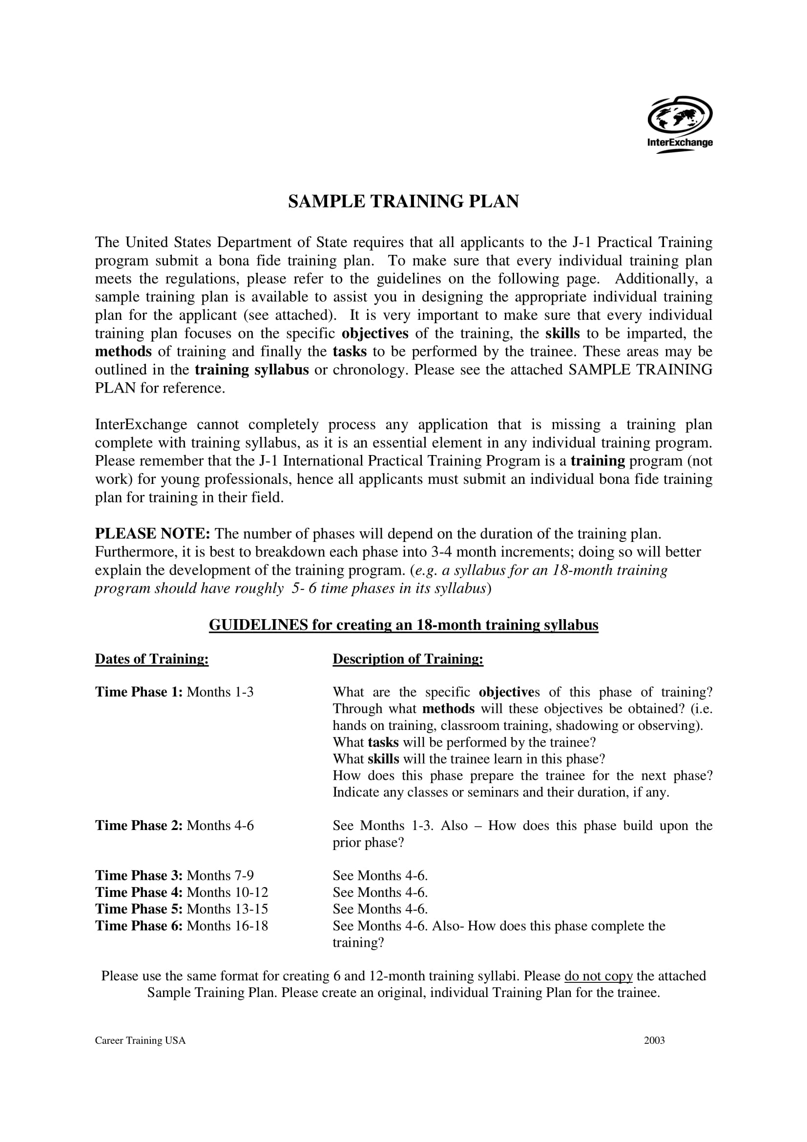 training plan example 1