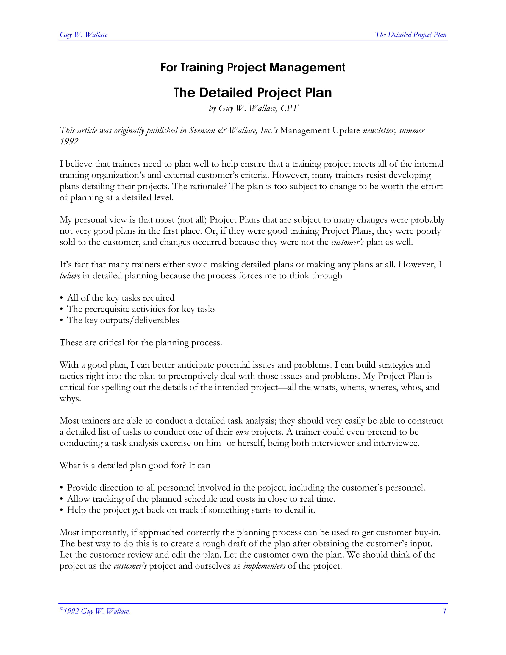 training project management plan example 1
