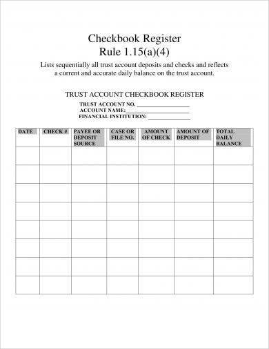 trust account checkbook register example1