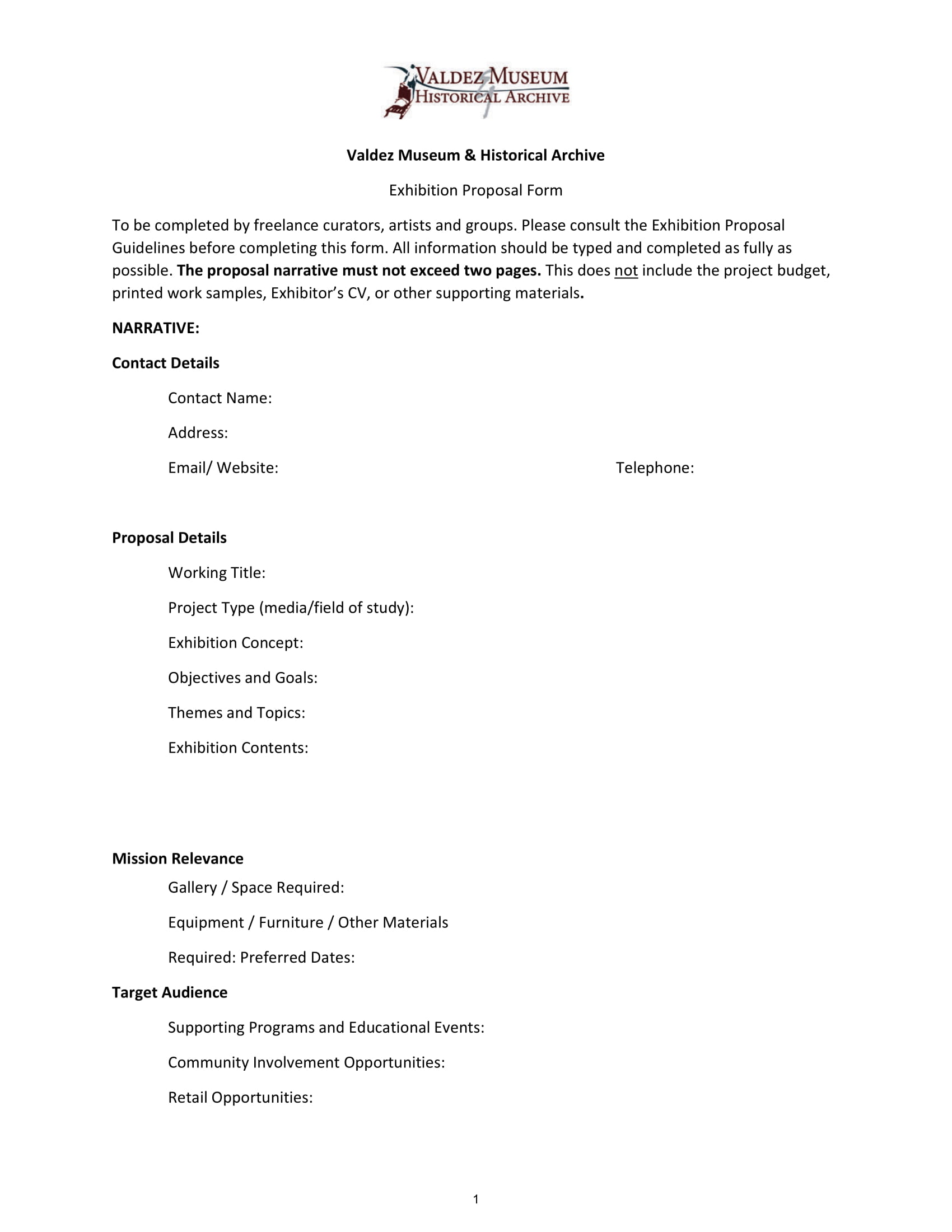 vmh exhibit proposal form