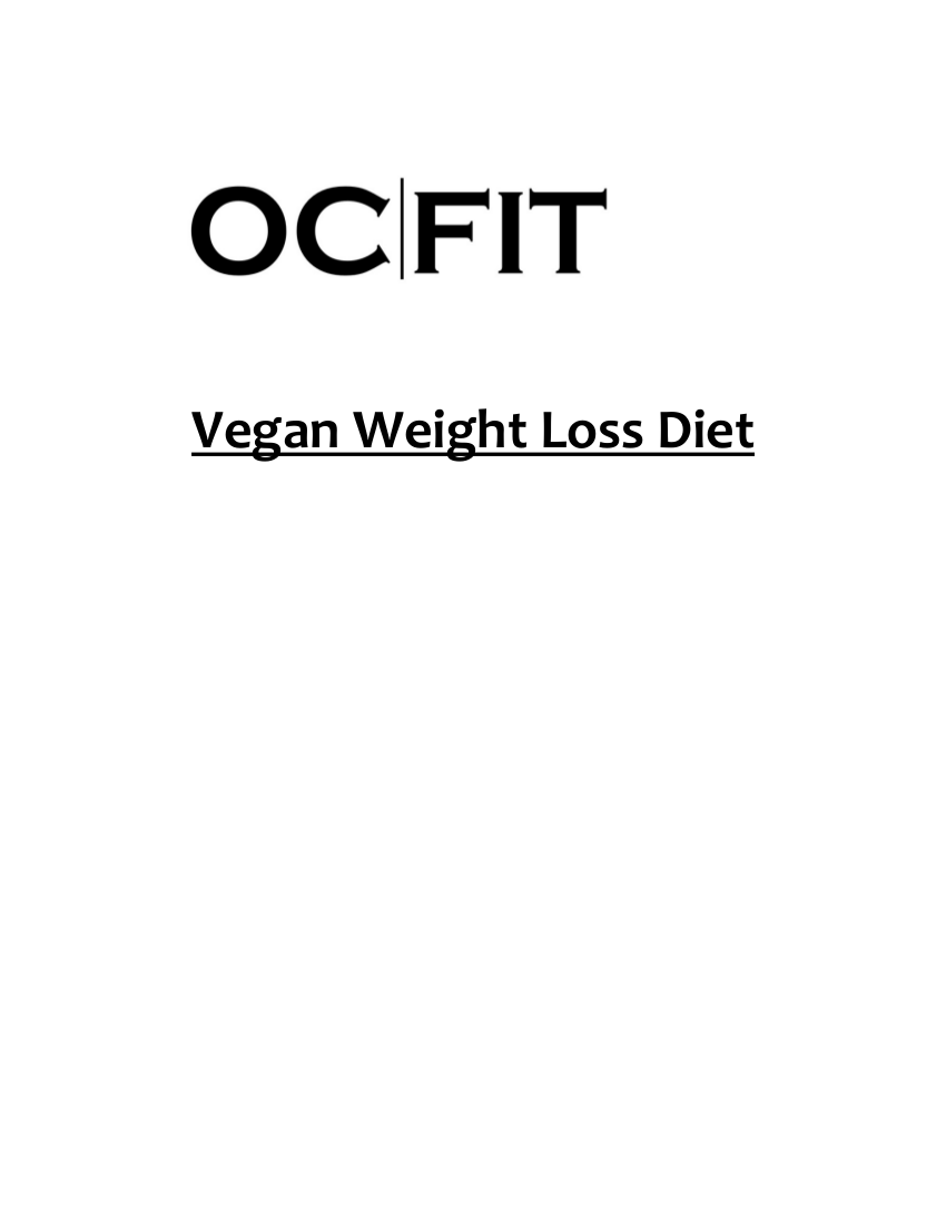 vegan weight loss meal plan diet example