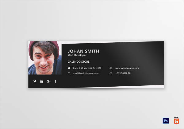 web developer email signature design example