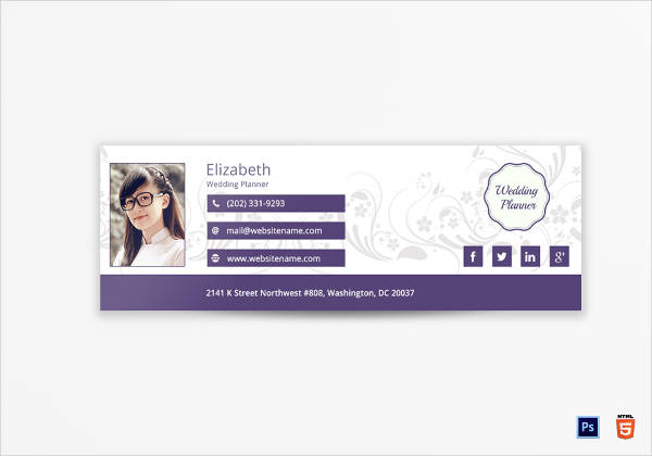 wedding planner email signature example