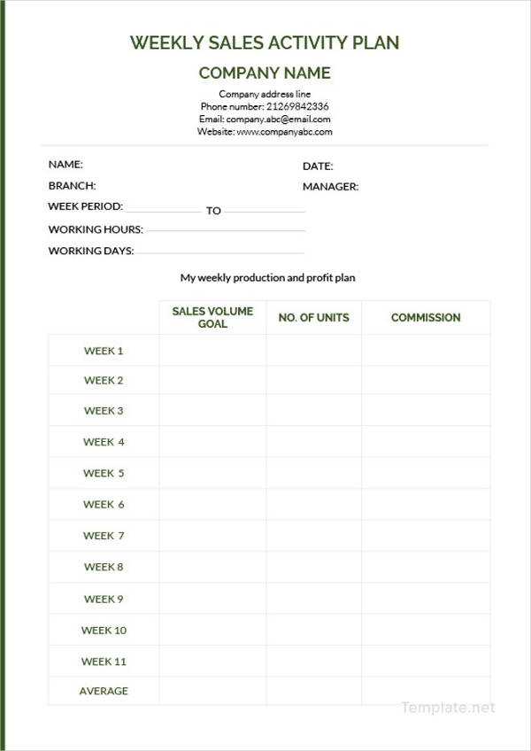 weekly sales activity plan example