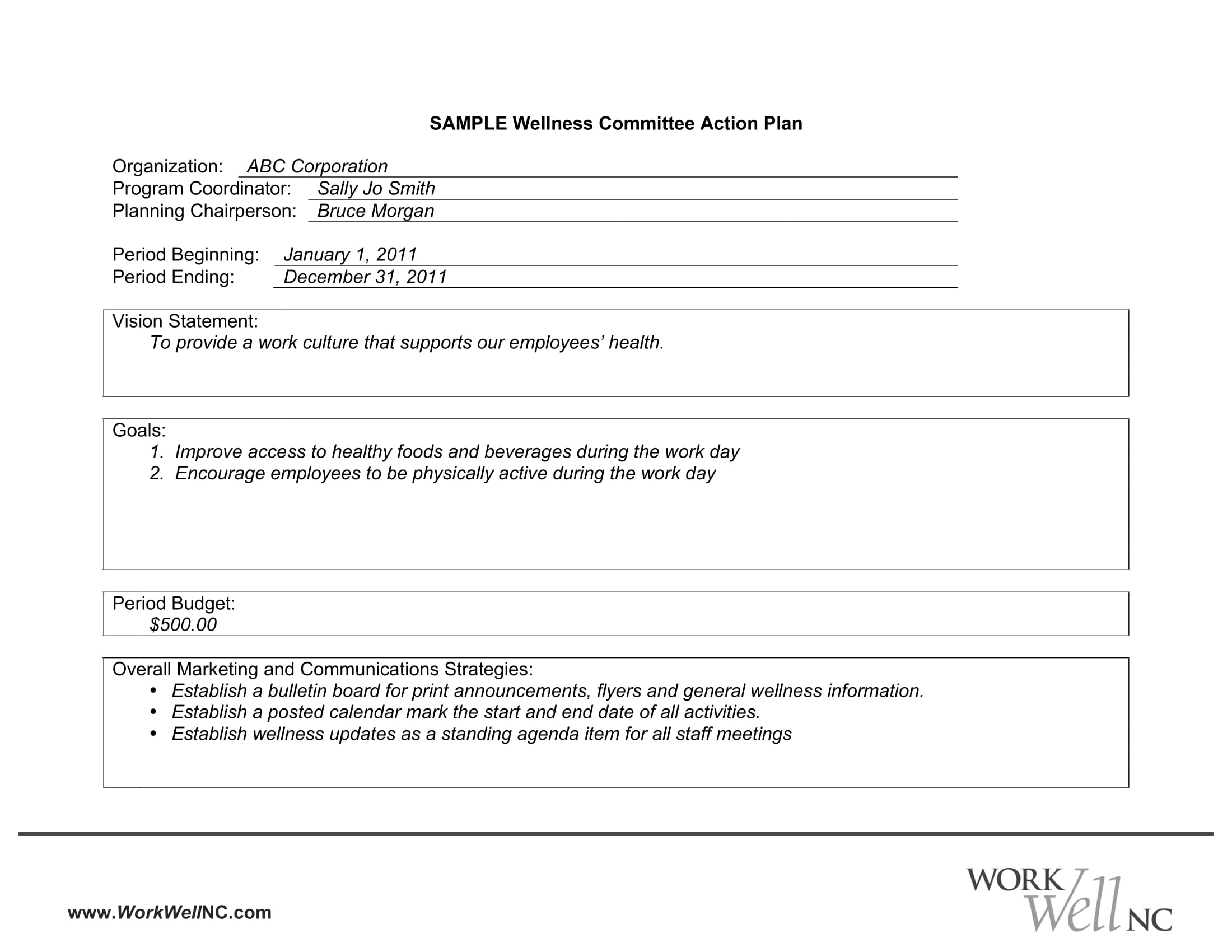 wellness committee strategic action plan template example 1