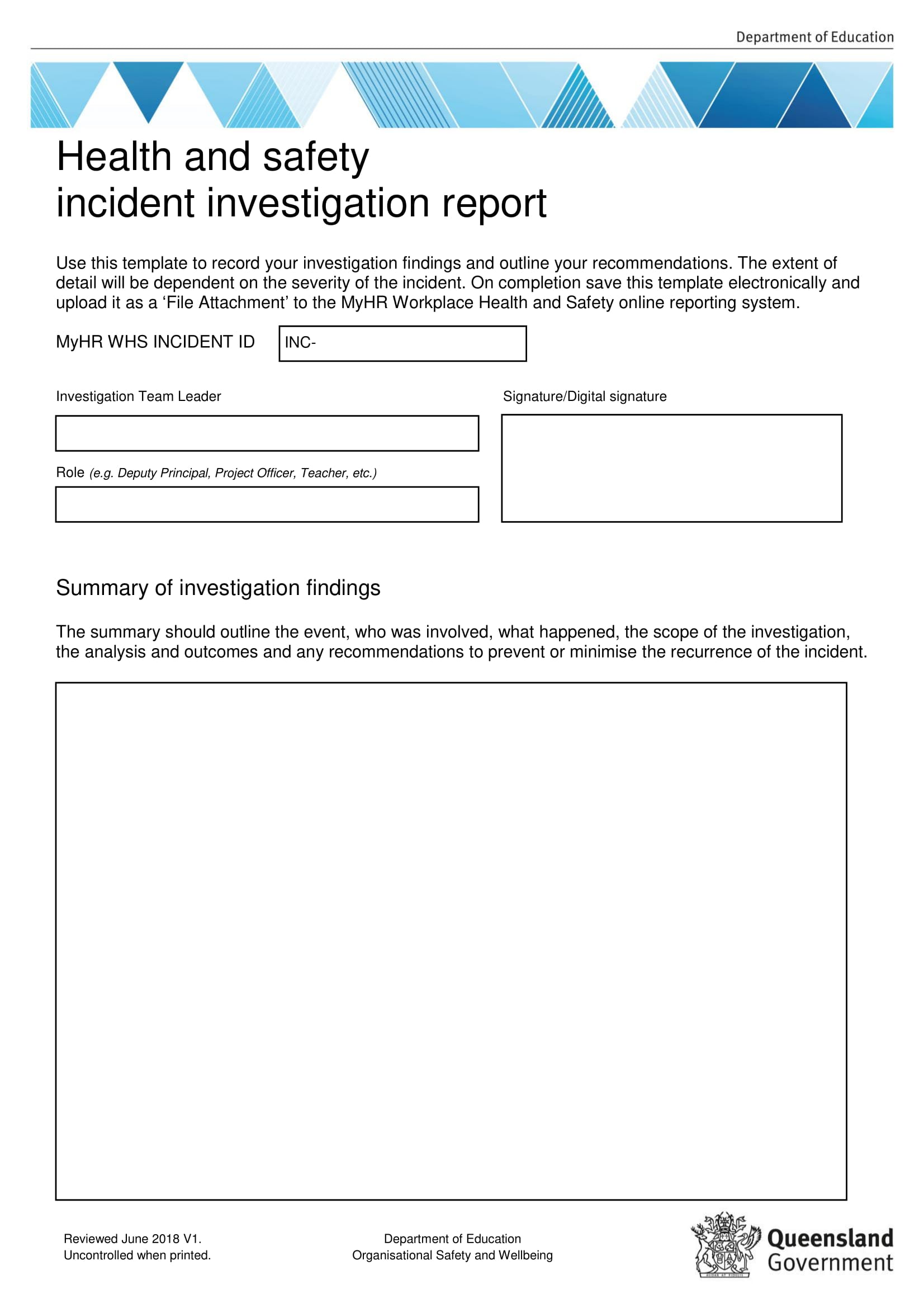Workplace Health And Safety Incident Investigation Report Example