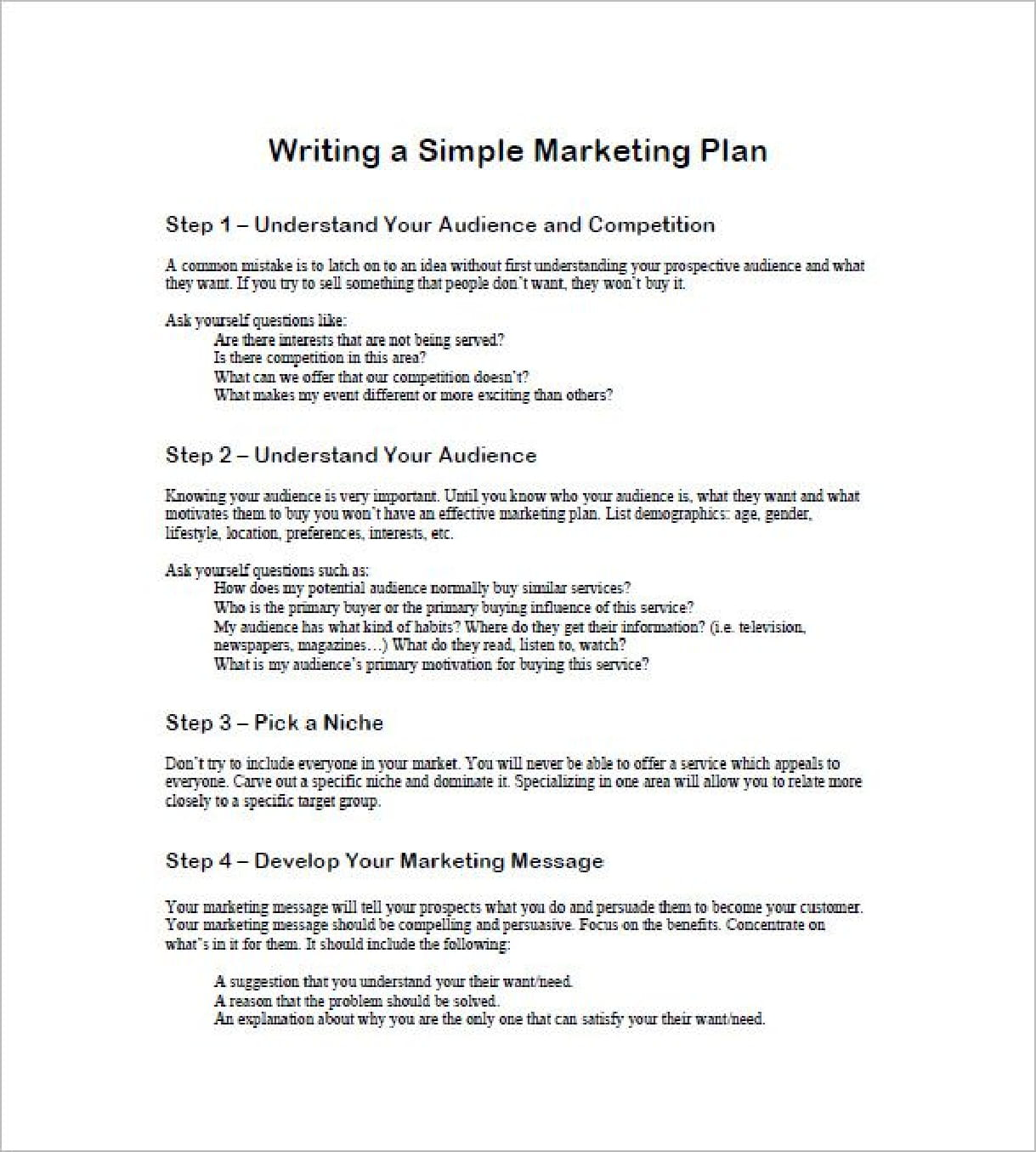 writing a simple marketing plan example