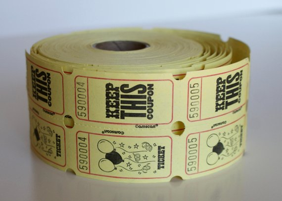 yellow carnival raffle ticket example