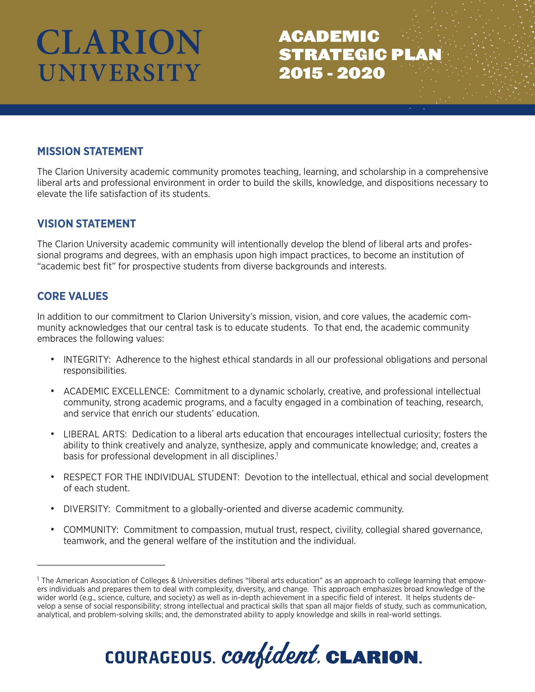 clarion academic strategic plan
