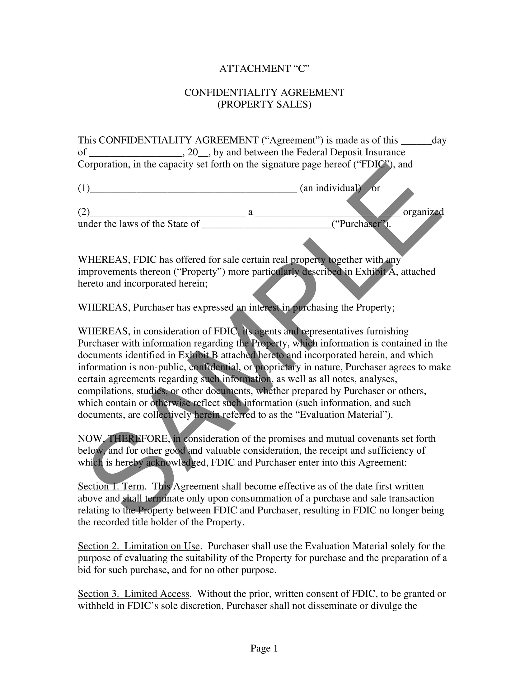 confidentiality agreement orepurchaser