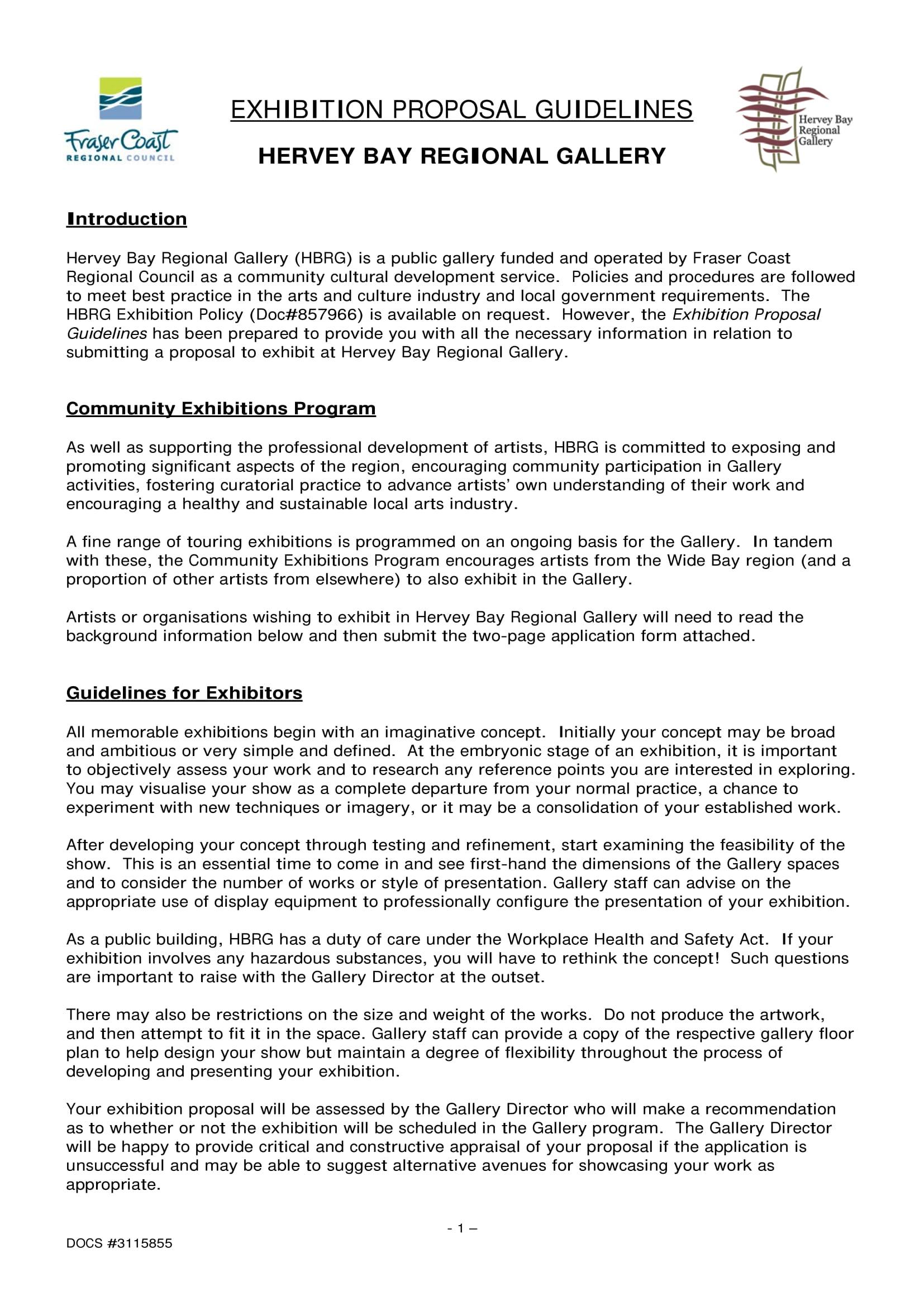 exhibition proposal guidelines hervey bay regional gallery