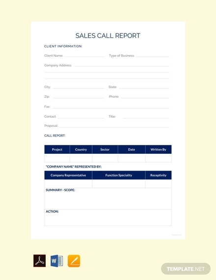 free sales call report