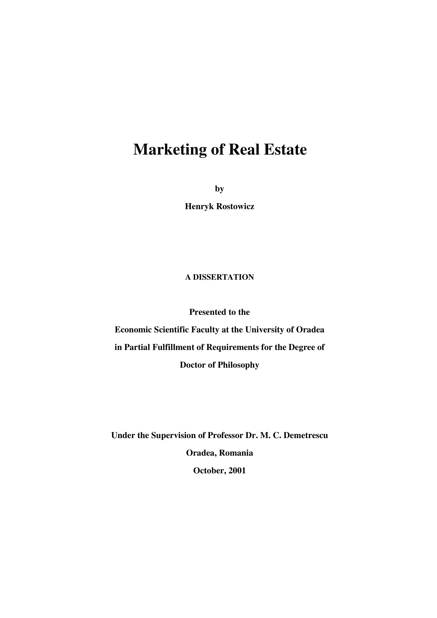 marketing of real estate