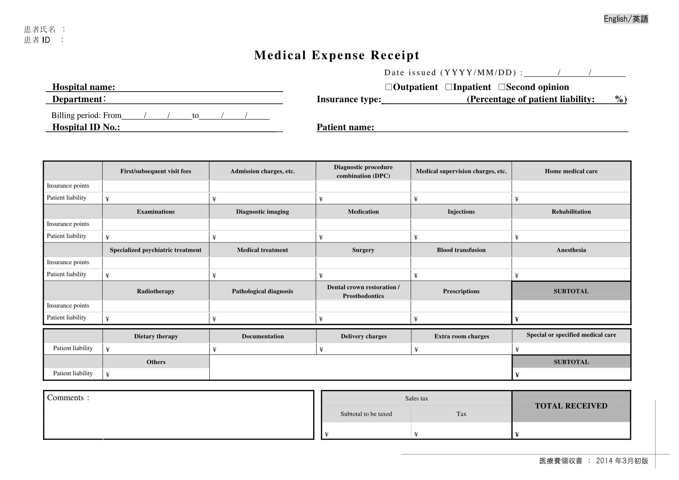 medical expense receipt
