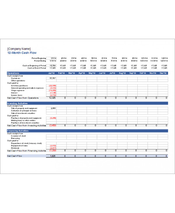 12 month cash flow analysis