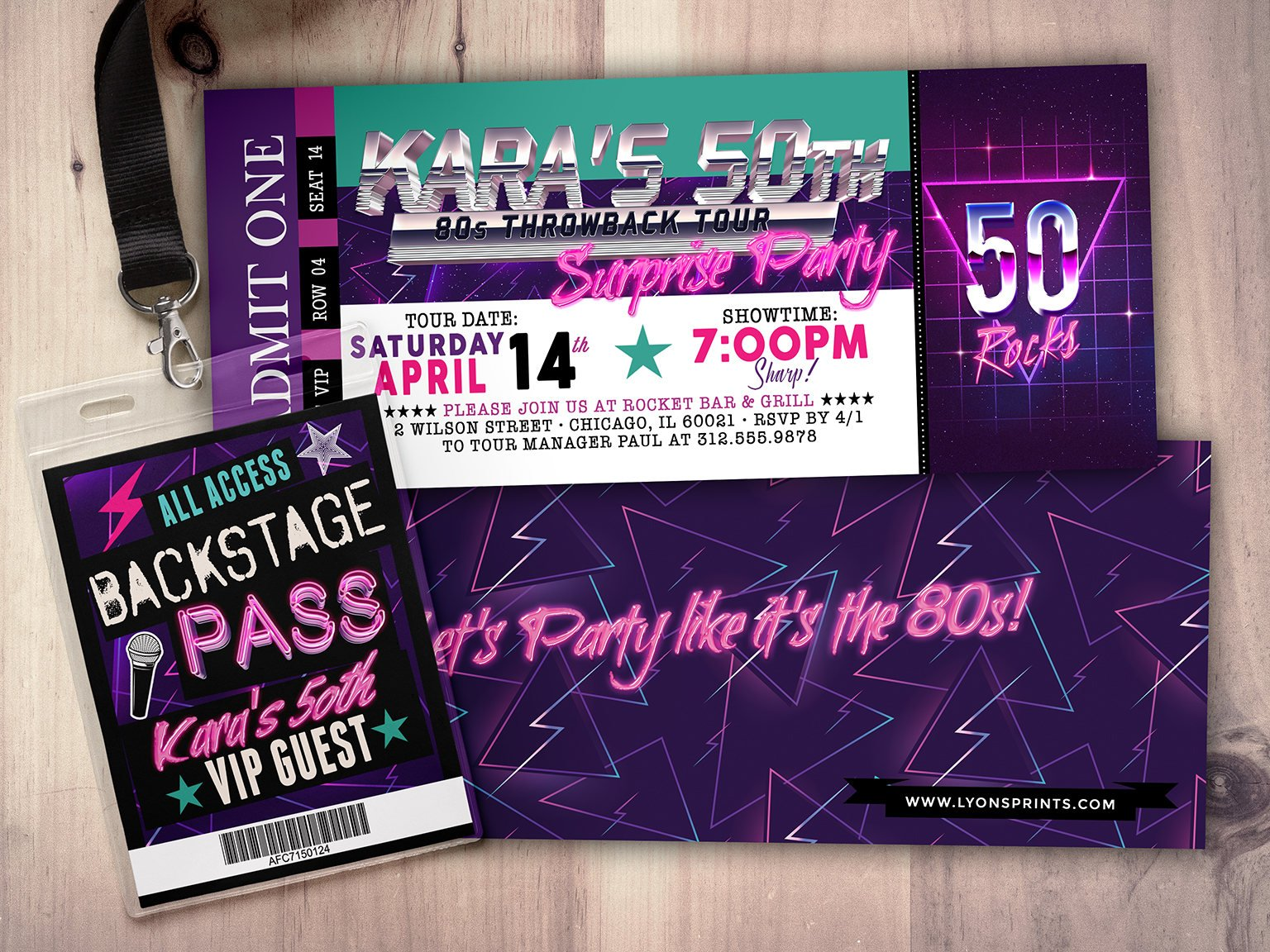 90s retro multipurpose surprise party ticket example