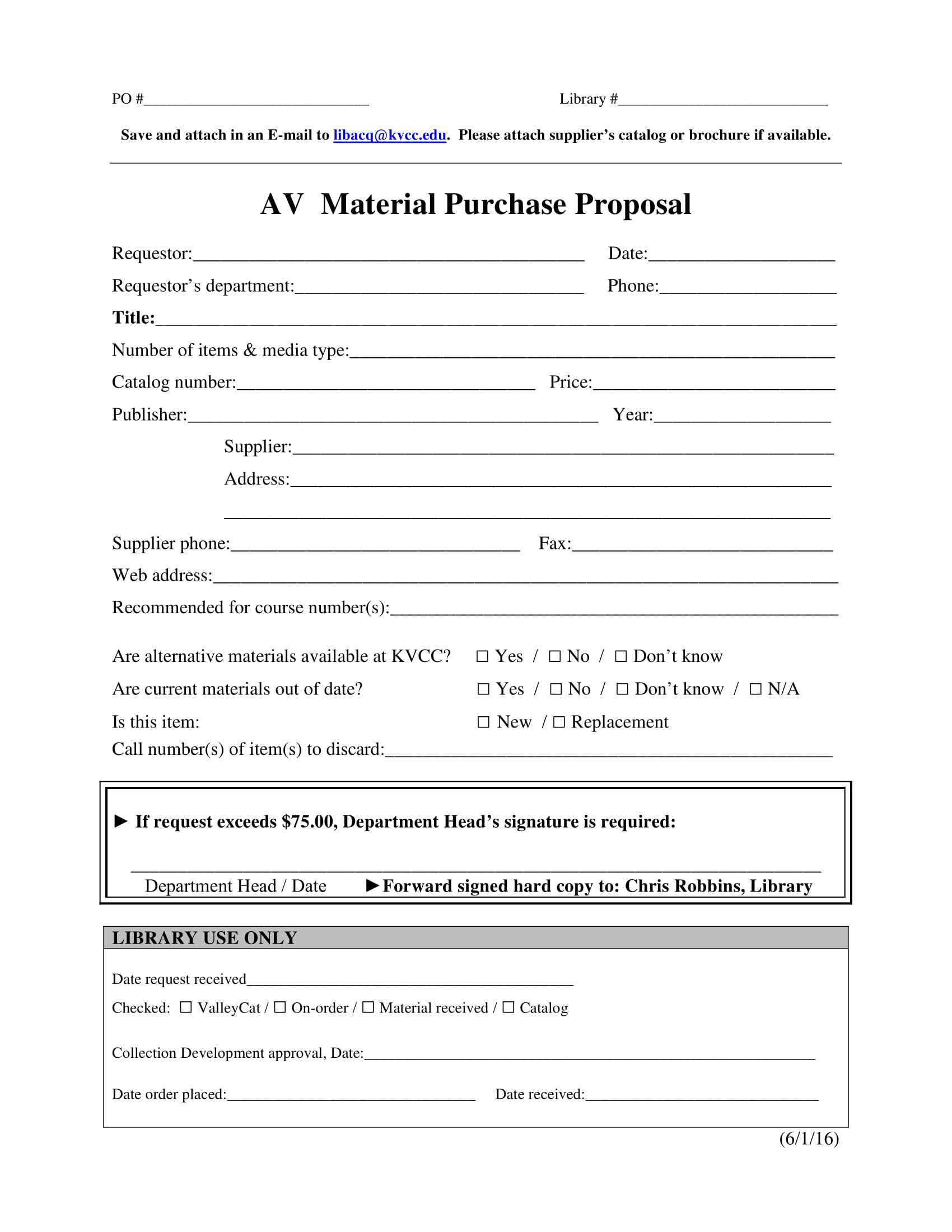 av material purchase proposal form example