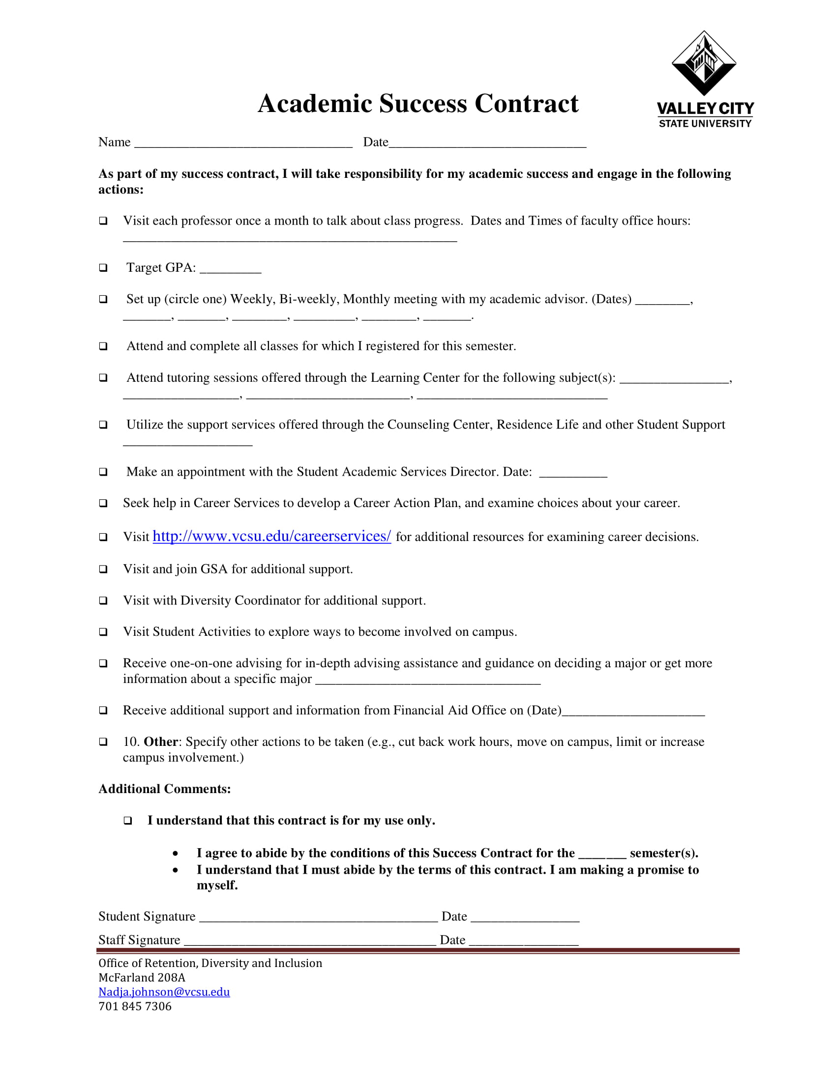 academic success contract template for students example 1