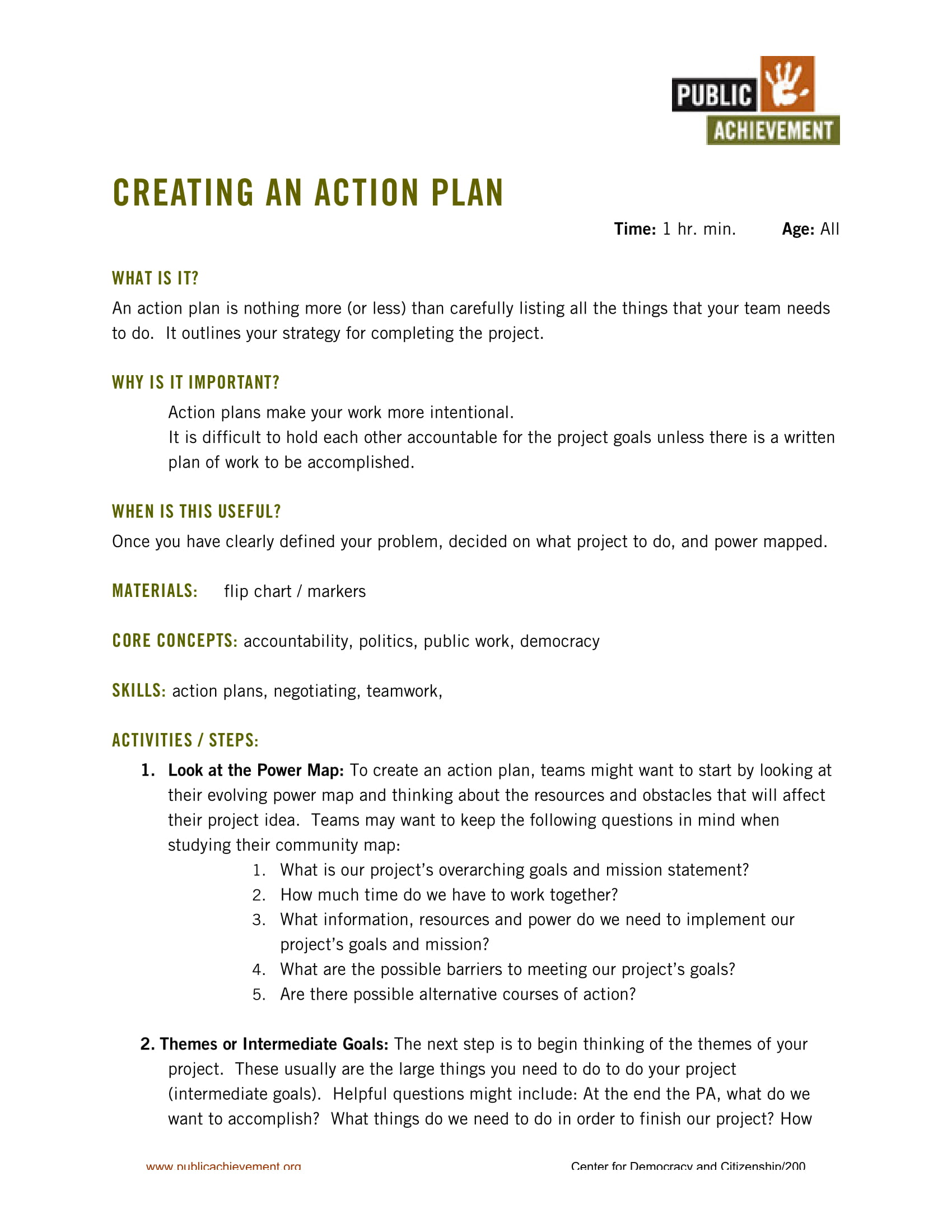 action plan for a project example 1
