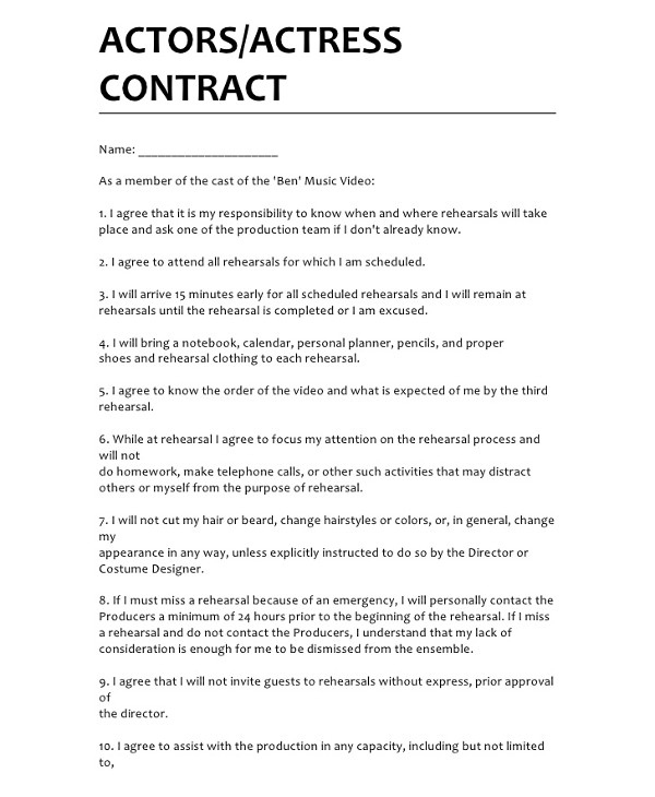 7  film production contract examples