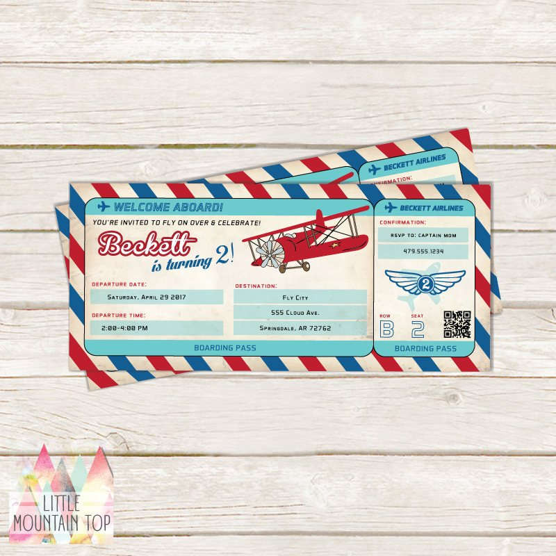 airplane birthday boarding pass invitation ticket example