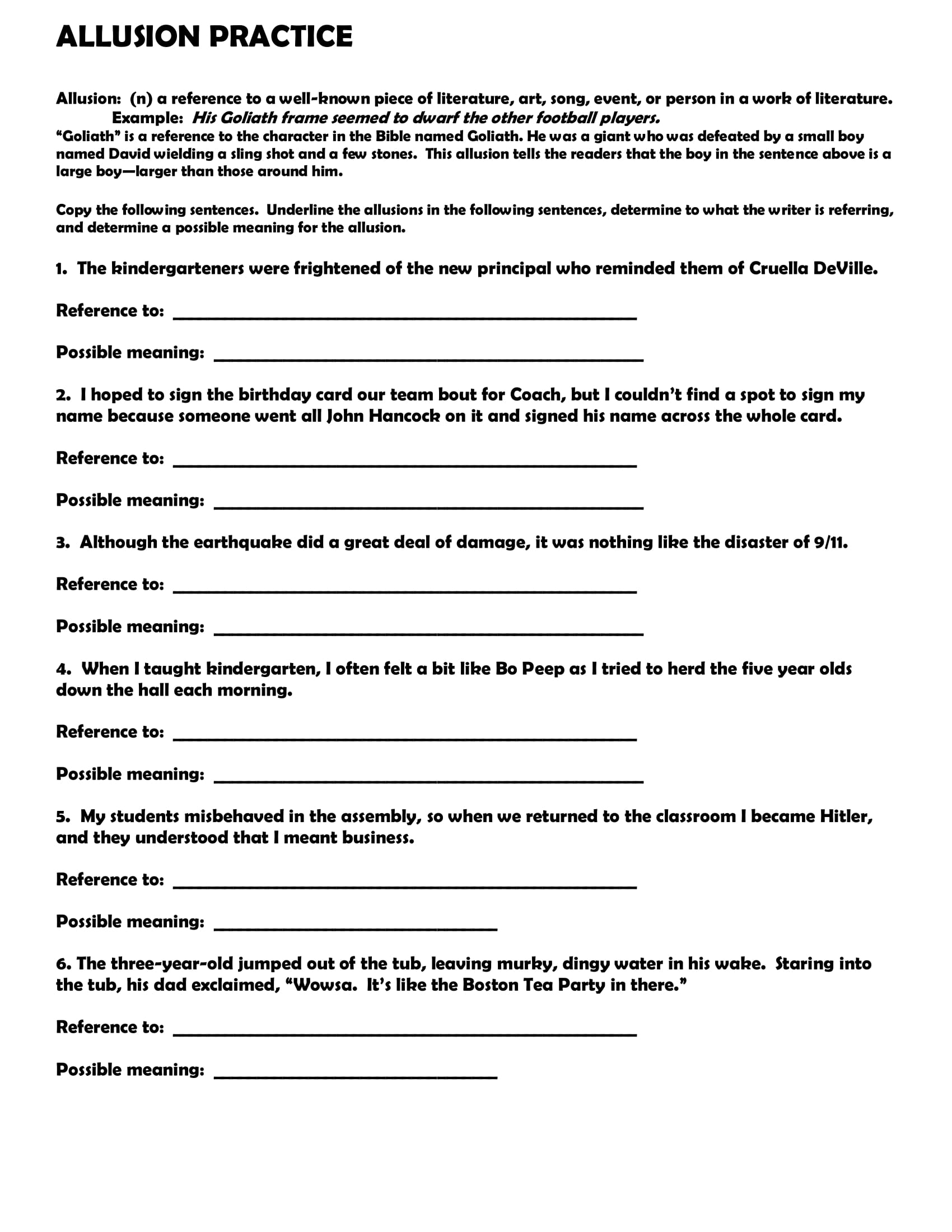 allusion practice worksheet example