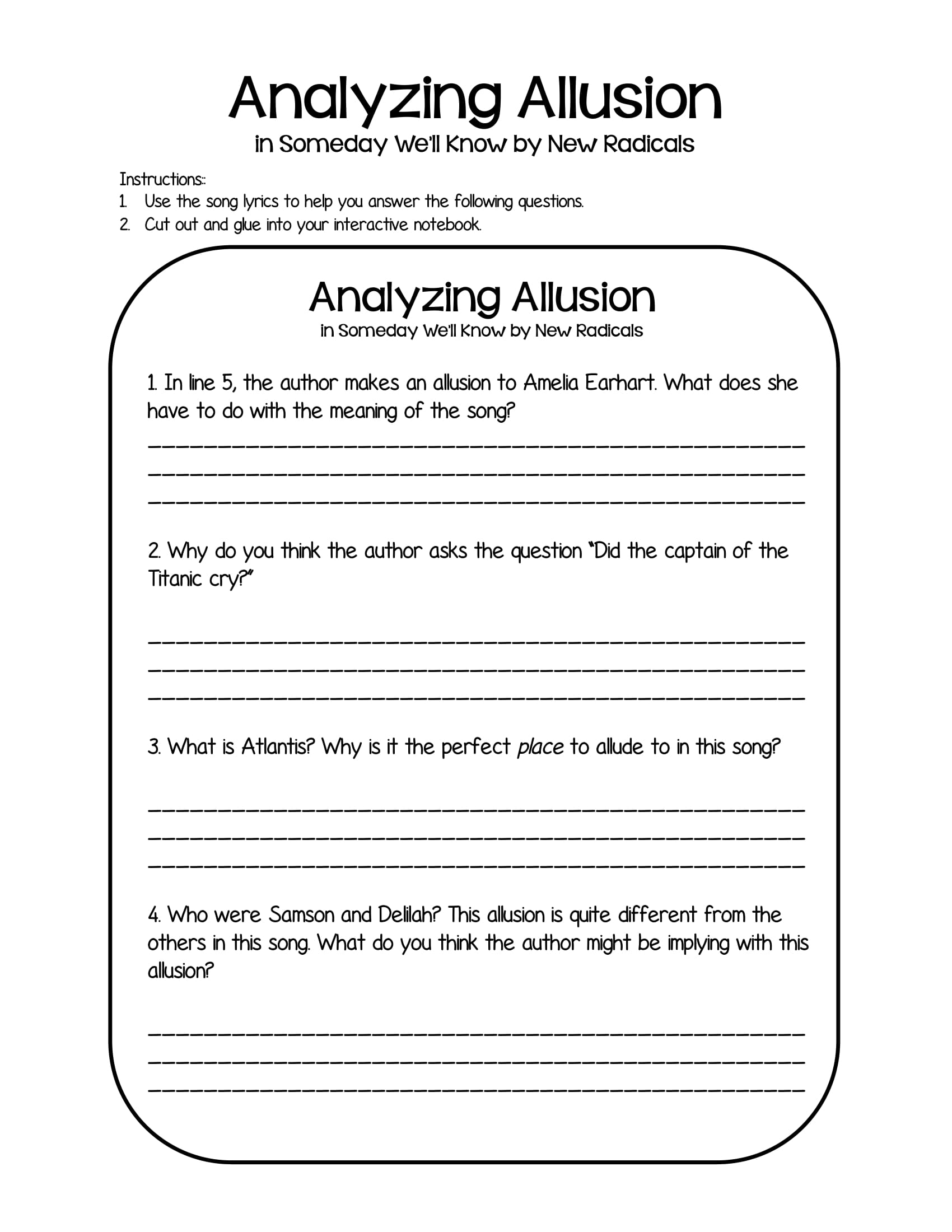 analyzing allusions worksheet example