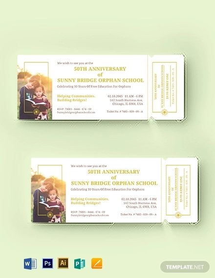 anniversary event ticket template