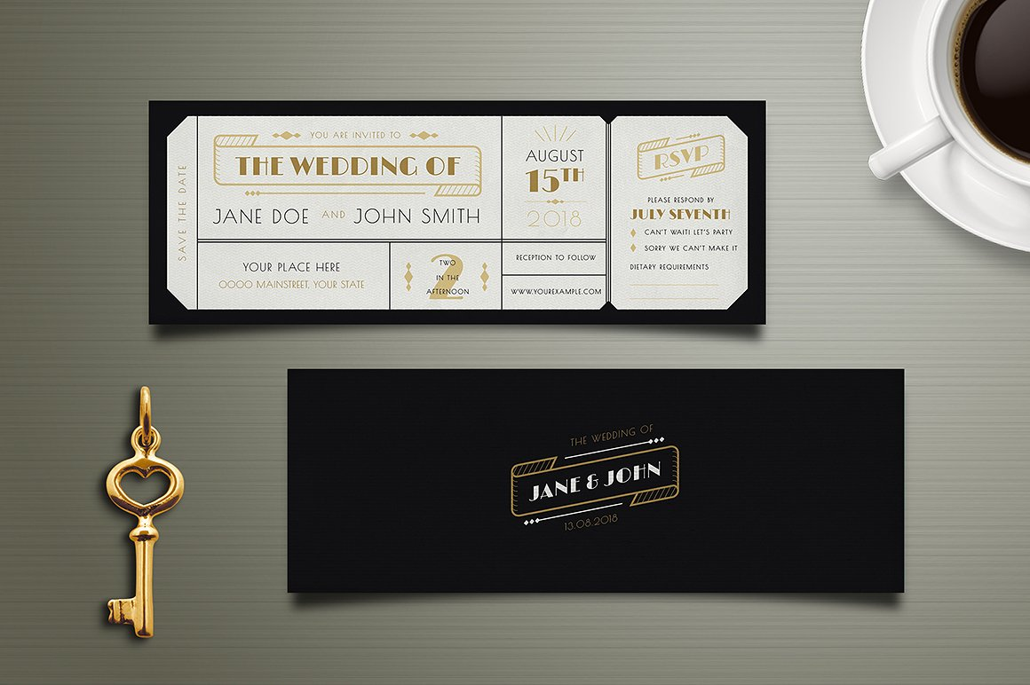 art deco wedding boarding pass ticket example