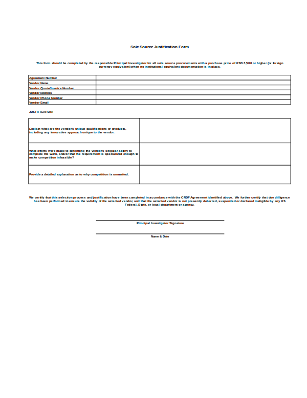 awardee sole source and bid analysis form