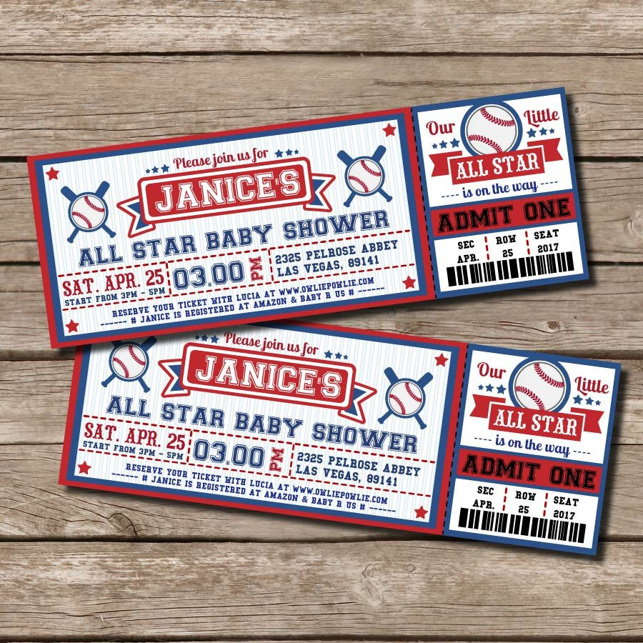 baby shower baseball invitation ticket example