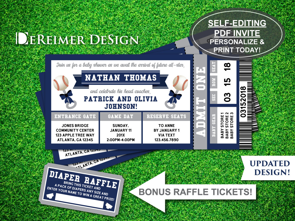 baseball baby shower invitation ticket example