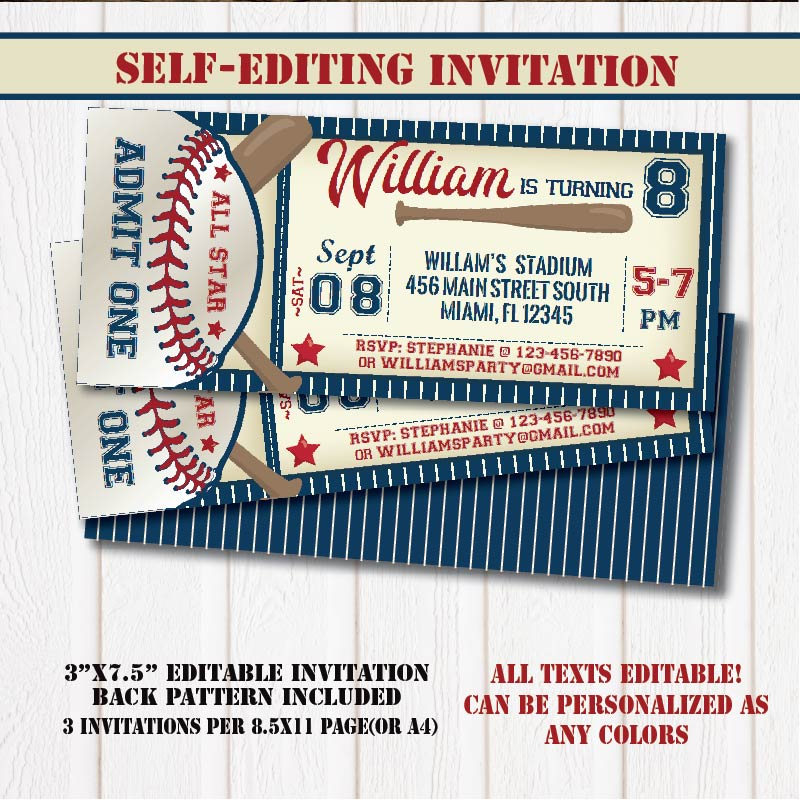baseball birthday party invitation ticket example
