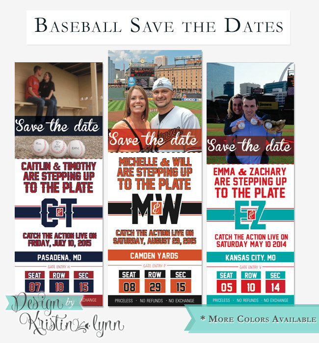 baseball save the dates invitation ticket example