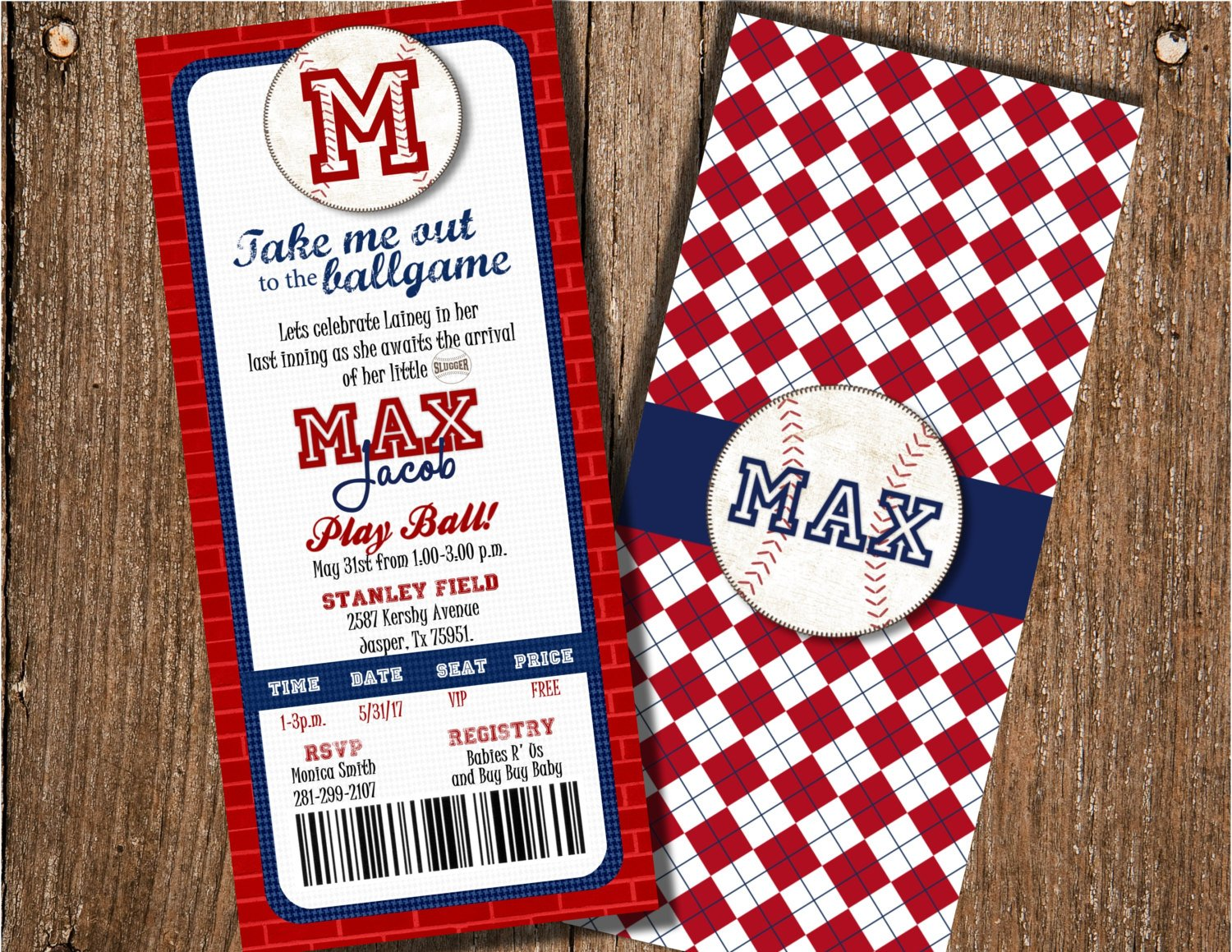 baseball ticket baby shower invitation example