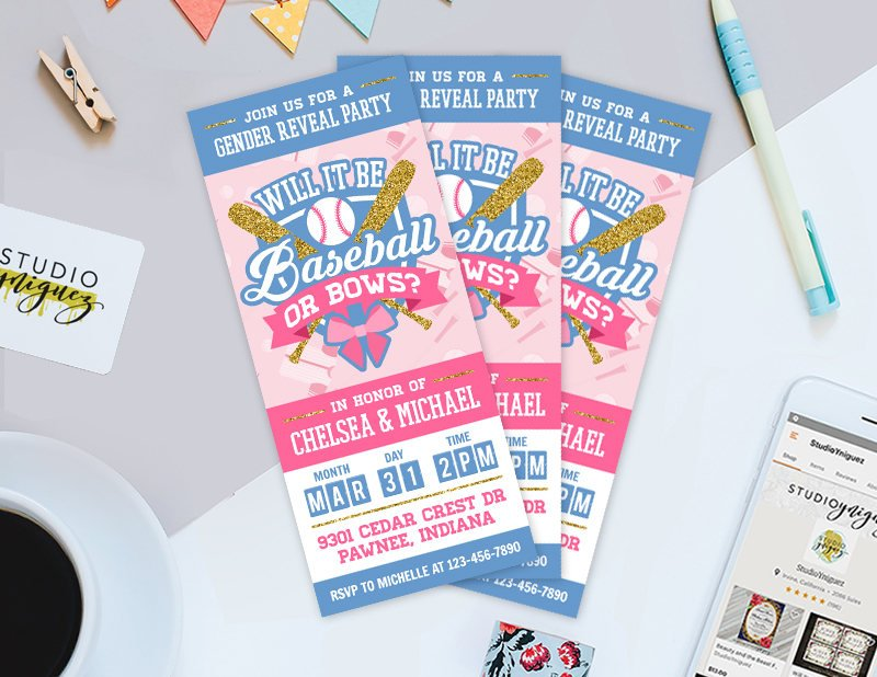 baseball ticket gender reveal invitation ticket example