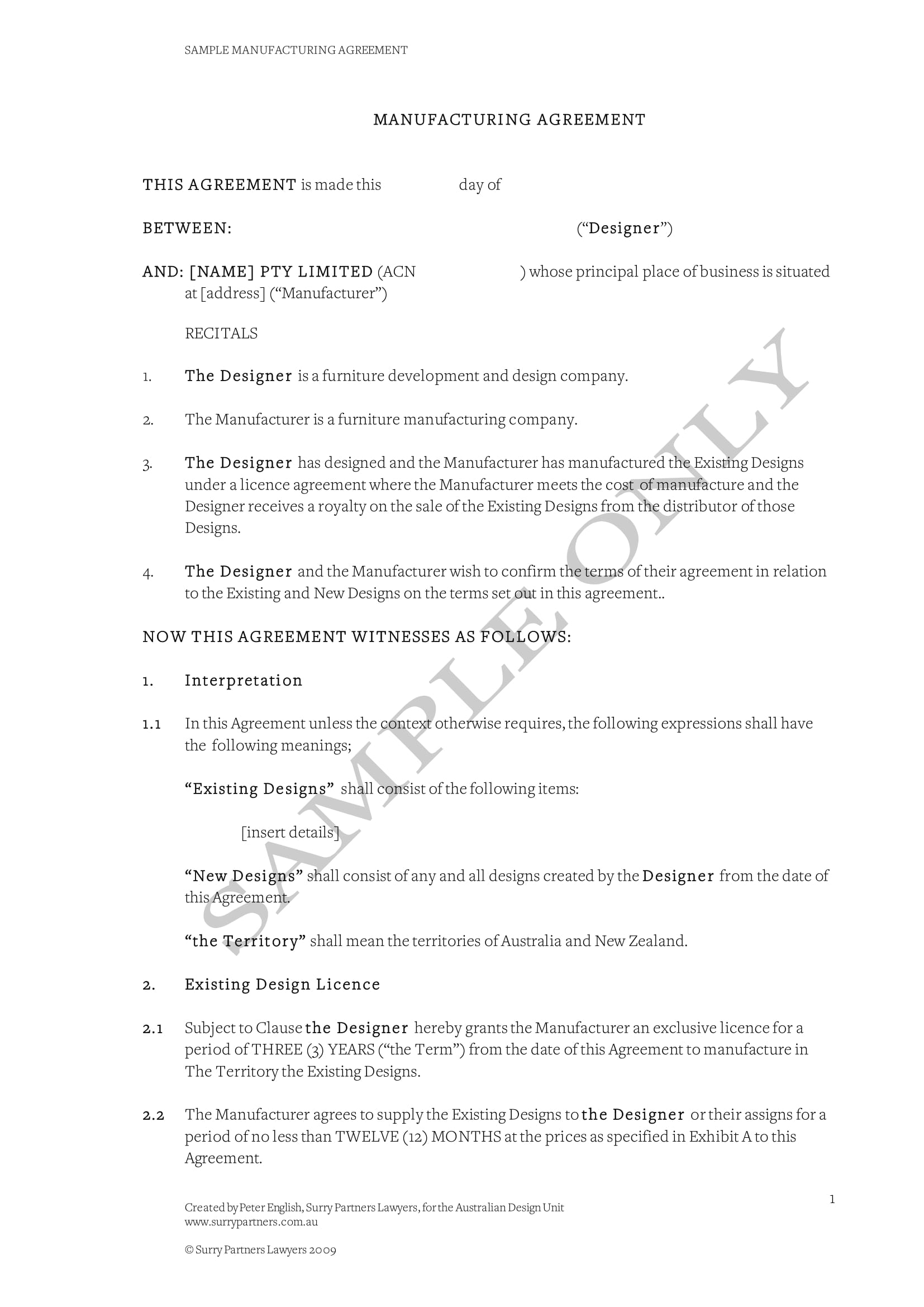 basic contract manufacturing agreement template example 1