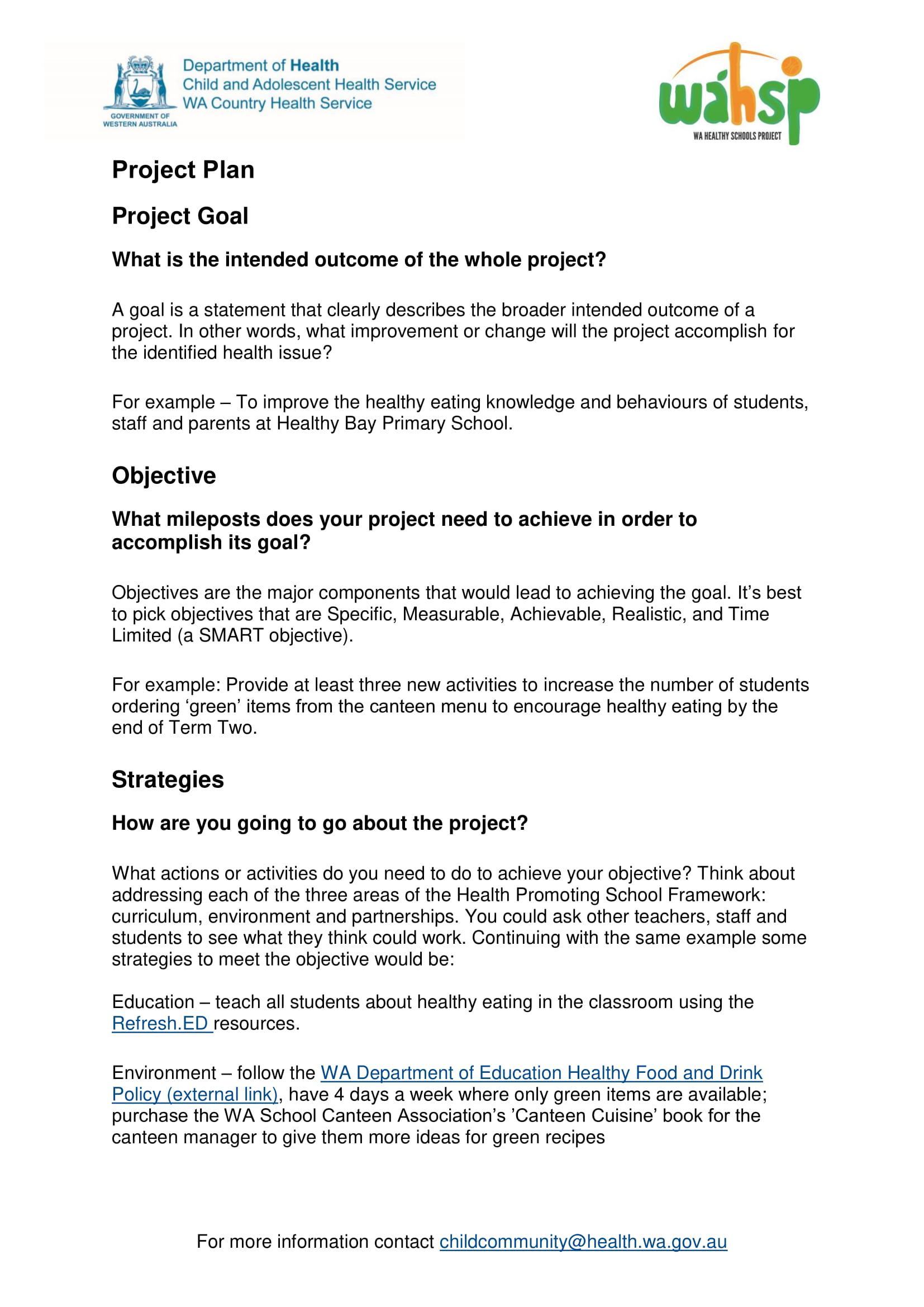 basic project action plan example 1