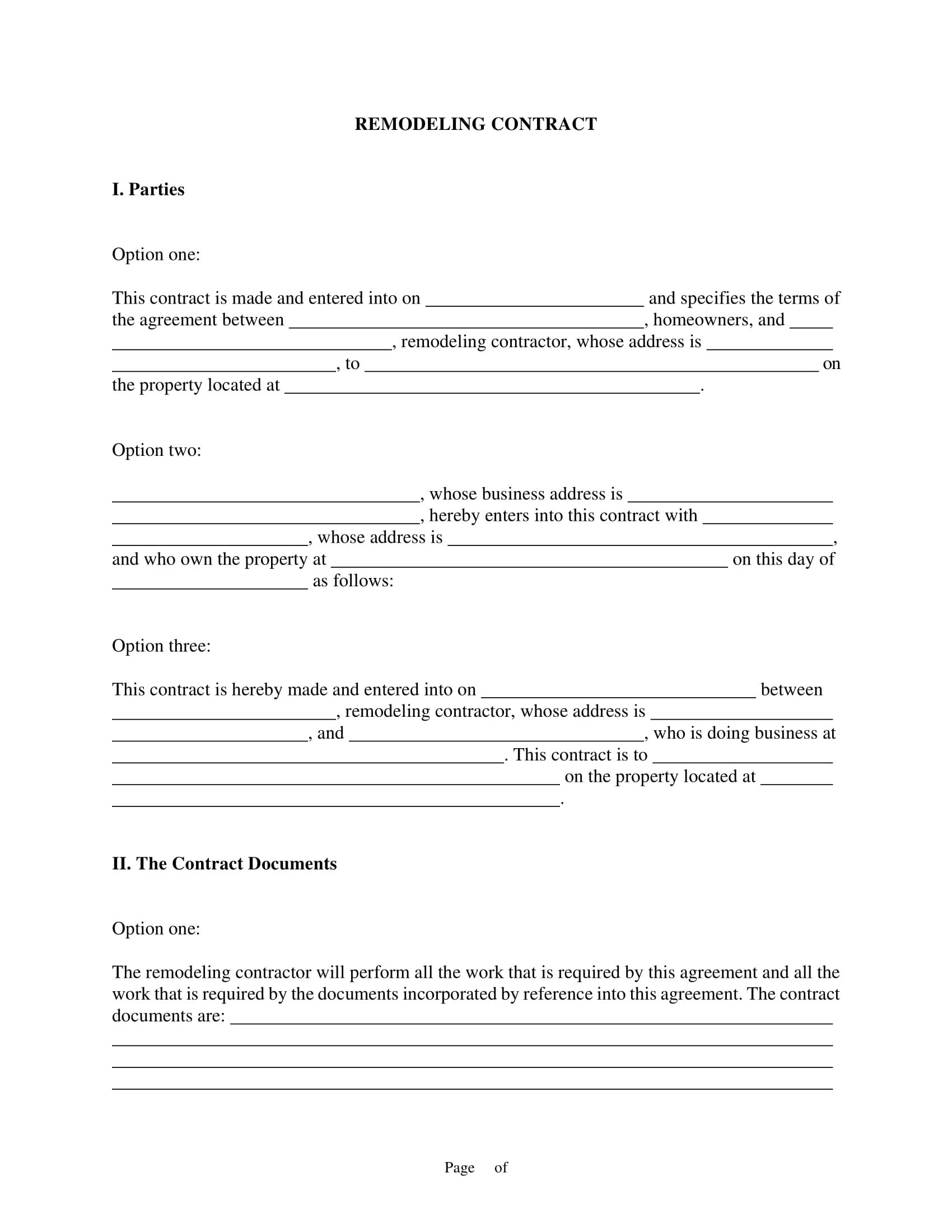 bathroom remodeling contract template example 1