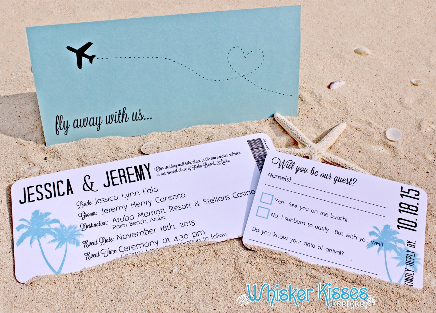 beach wedding boarding pass ticket example