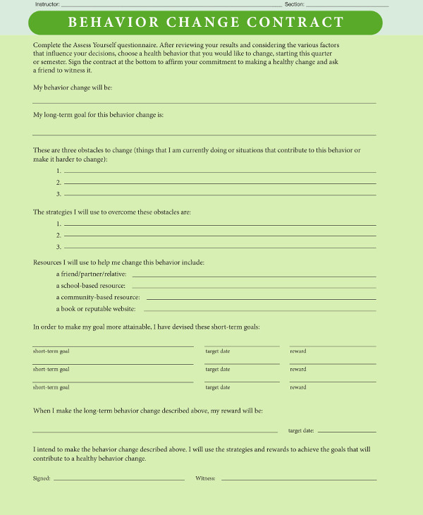 behavior change contract template example