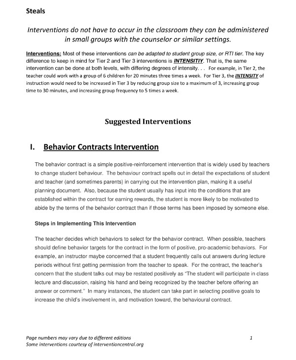behavior change contract with intervention guidelines template example