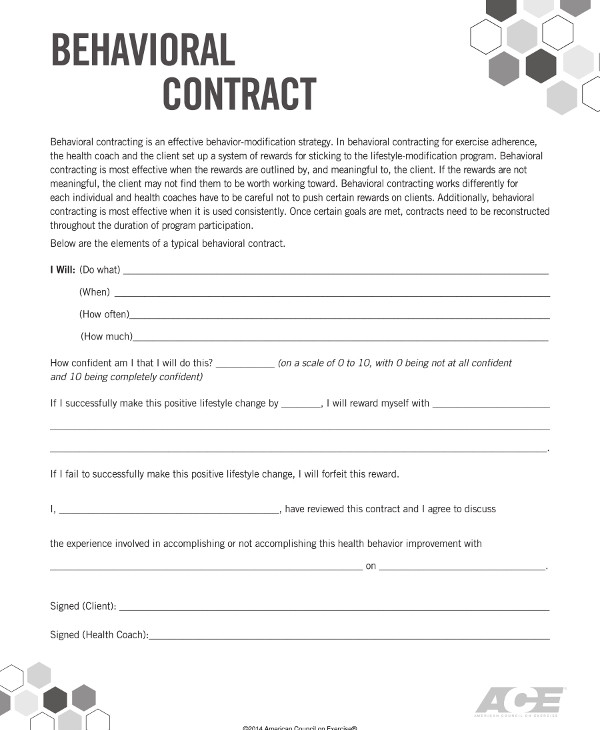 behavior contract template example