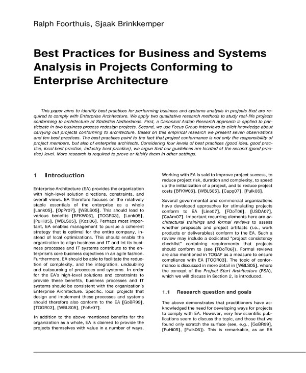 best practices for business and systems analysis in projects conforming to enterprise architecture example