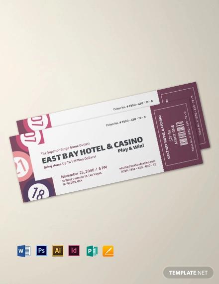 bingo event ticket template