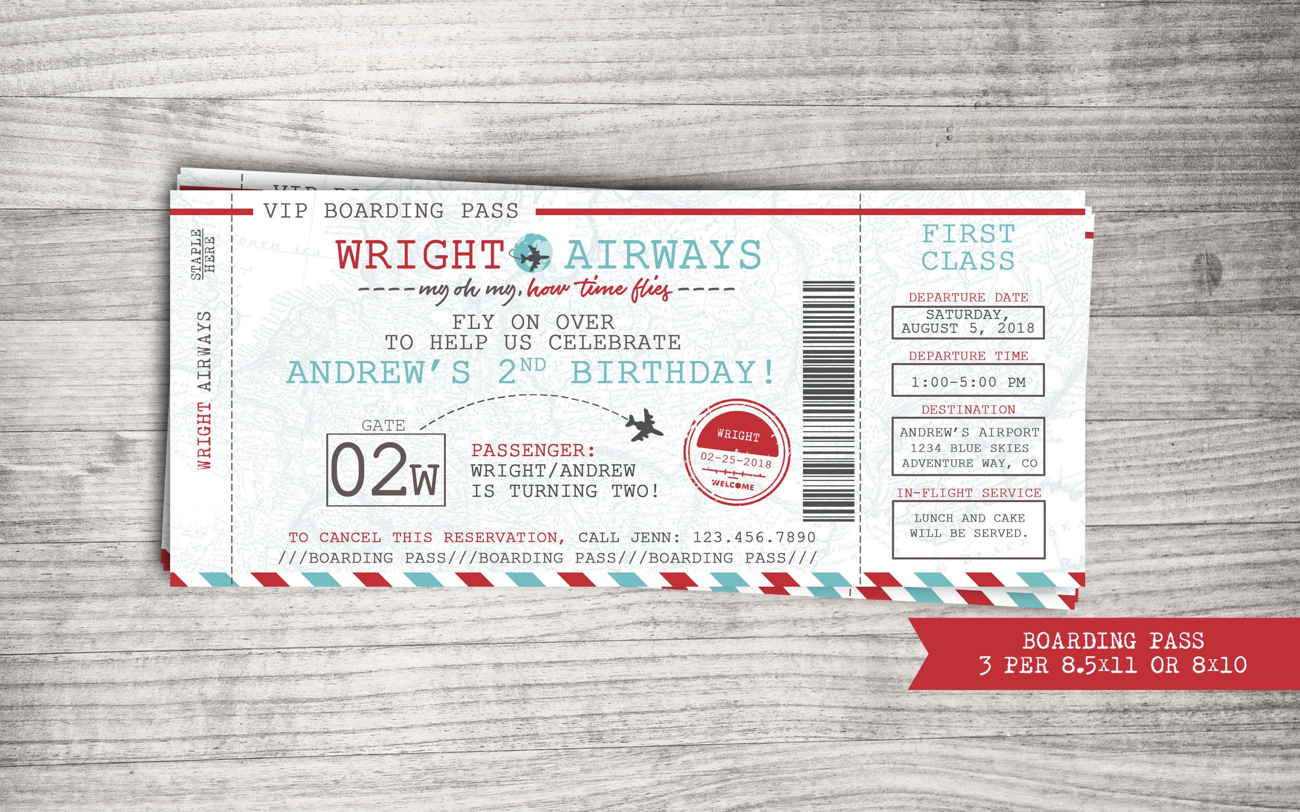 birthday boarding pass invitation ticket example