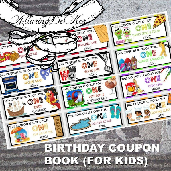 birthday coupon book for kids example